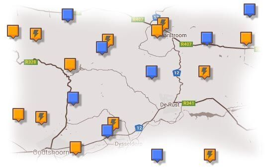 Map of Oudtshoorn & Surrounding Accommodation